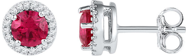Sterling Silver Womens Round Lab-Created Ruby Solitaire Diamond Frame Earrings 1-1/3 Cttw