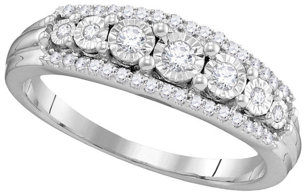 10kt White Gold Womens Round Diamond Triple Row Band Ring 1/4 Cttw