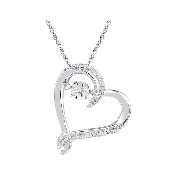 10kt White Gold Womens Moving Twinkle Round Diamond Heart Pendant 1/20 Cttw