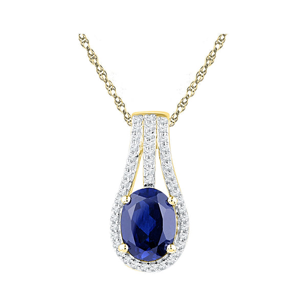 10kt Yellow Gold Womens Oval Lab-Created Blue Sapphire Solitaire Pendant 1-3/4 Cttw