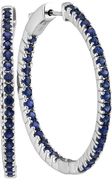 14kt White Gold Womens Round Blue Sapphire Hoop Earrings 2-3/4 Cttw