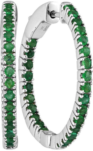 14kt White Gold Womens Round Emerald Hoop Earrings 1-5/8 Cttw