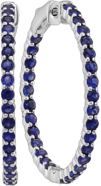 14kt White Gold Womens Round Blue Sapphire Inside Outside Hoop Earrings 3-3/4 Cttw