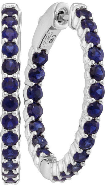 14kt White Gold Womens Round Blue Sapphire Inside Outside Hoop Earrings 2-1/2 Cttw
