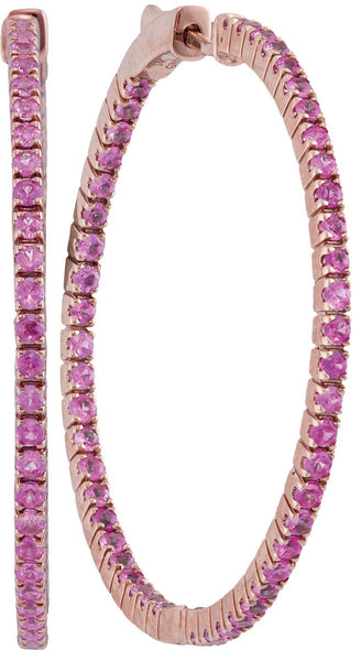 14kt Rose Gold Womens Round Pink Sapphire Inside Outside Hoop Earrings 2-7/8 Cttw