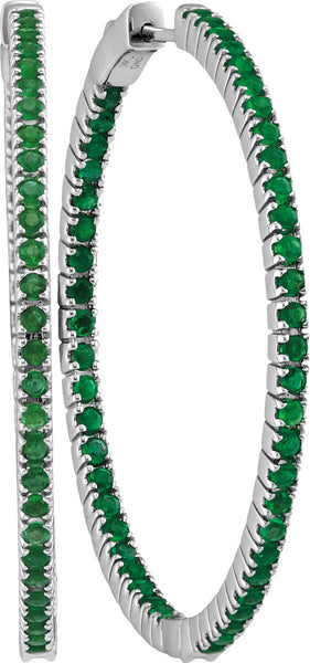 14kt White Gold Womens Round Emerald Large Slender Inside Outside Hoop Earrings 3.00 Cttw