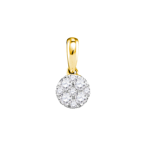 14kt Yellow Gold Womens Round Diamond Circle Cluster Pendant 1/4 Cttw