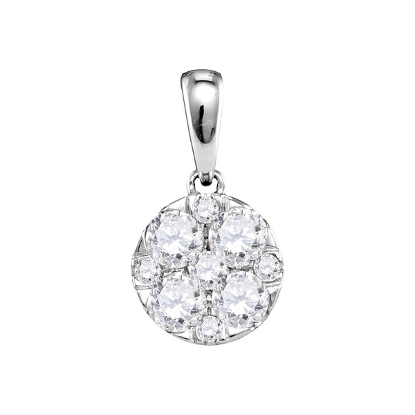 14kt White Gold Womens Round Pave-set Diamond Circle Cluster Pendant 1.00 Cttw