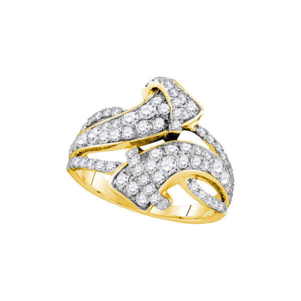 14kt Yellow Gold Womens Round Pave-set Diamond Bypass Strand Band 1-1/2 Cttw