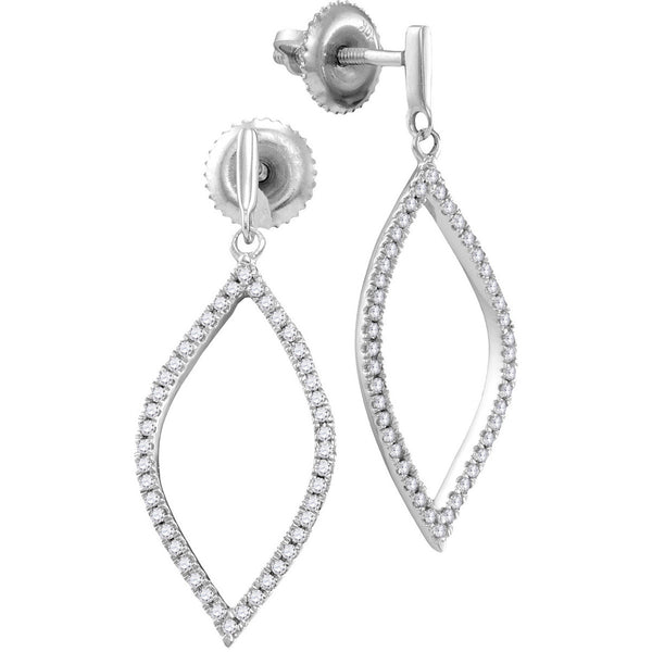 10kt White Gold Womens Round Diamond Oblong Oval Dangle Earrings 1/5 Cttw