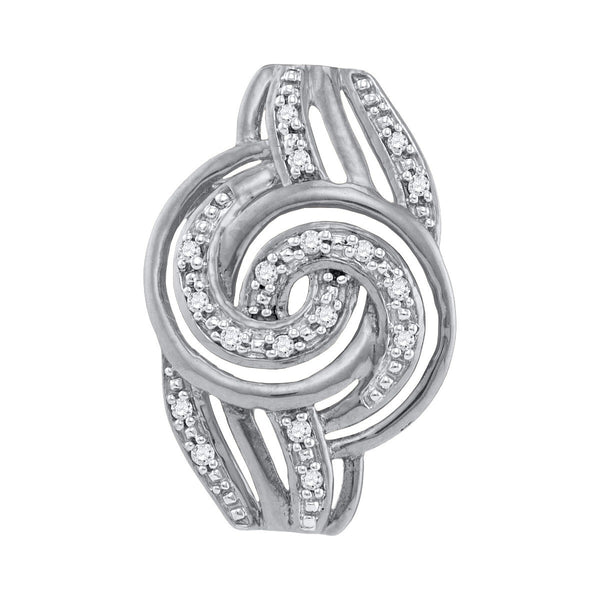 10kt White Gold Womens Round Diamond Swirl Pendant 1/20 Cttw