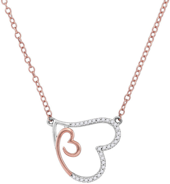 10kt Rose Gold Womens Round Diamond Double Heart Pendant Necklace 1/10 Cttw