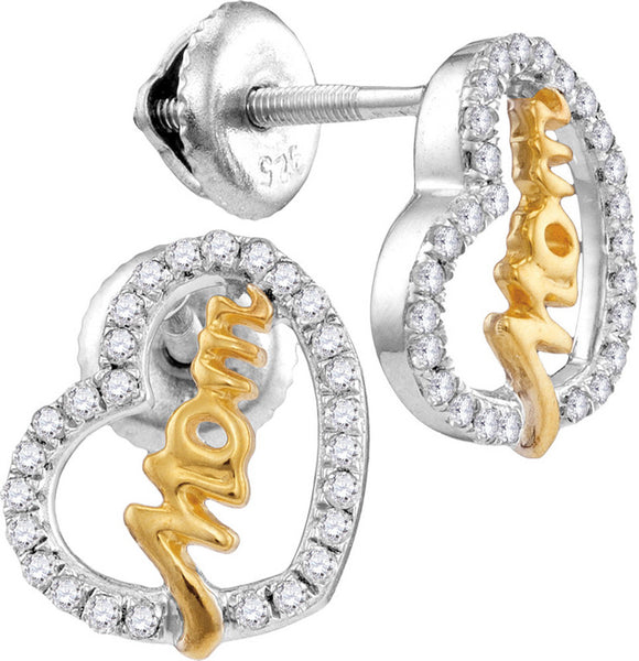 10kt White Gold Womens Round Diamond Two-tone Heart Mom Screwback Earrings 1/3 Cttw