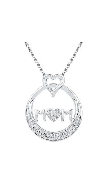 Sterling Silver Womens Round Diamond Mom Mother Circle Heart Pendant 1/20 Cttw
