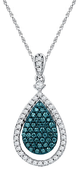 10kt White Gold Womens Round Blue Colored Diamond Teardrop Pendant 5/8 Cttw