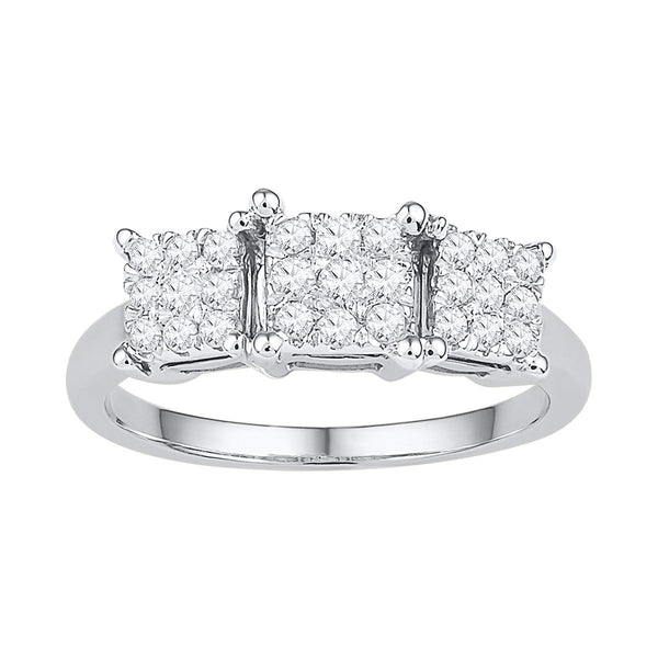 10kt White Gold Womens Round Diamond Triple Cluster Bridal Wedding Engagement Ring 1/4 Cttw
