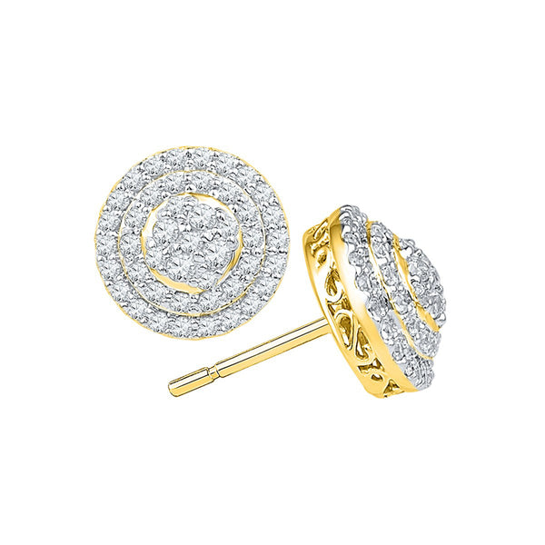 10kt Yellow Gold Womens Round Diamond Concentric Circle Layered Cluster Earrings 3/4 Cttw