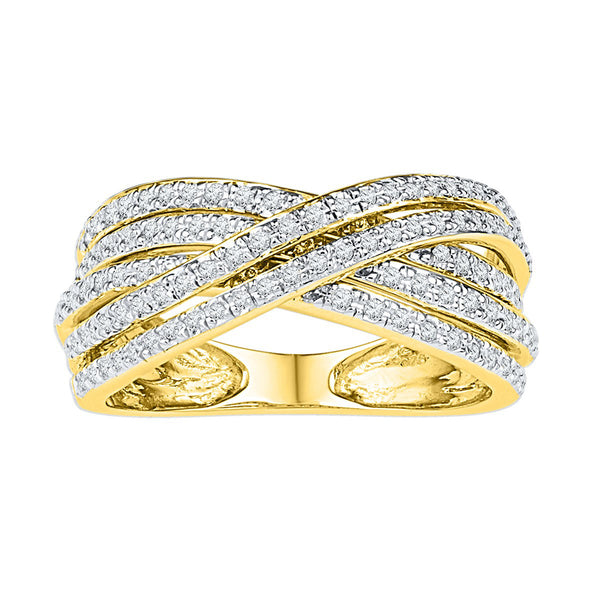 10kt Yellow Gold Womens Round Diamond Crossover Five Row Band Ring 5/8 Cttw