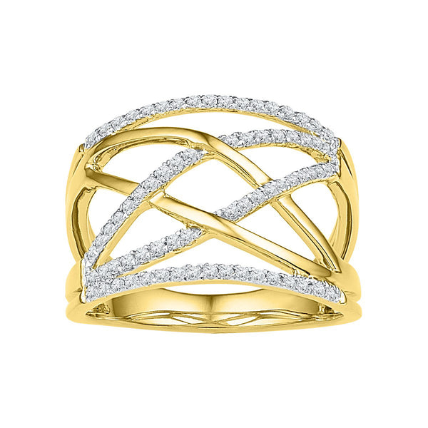 10kt Yellow Gold Womens Round Diamond Criss Cross Crossover Cocktail Ring 1/3 Cttw