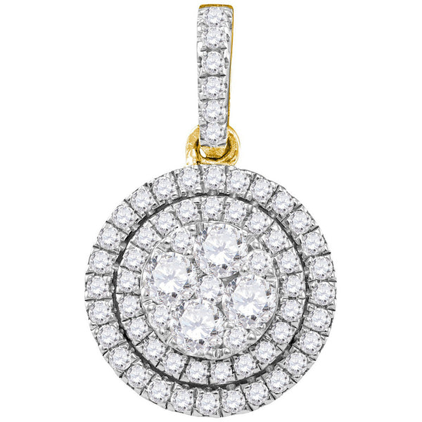 14kt Yellow Gold Womens Round Diamond Double Frame Flower Cluster Pendant 7/8 Cttw