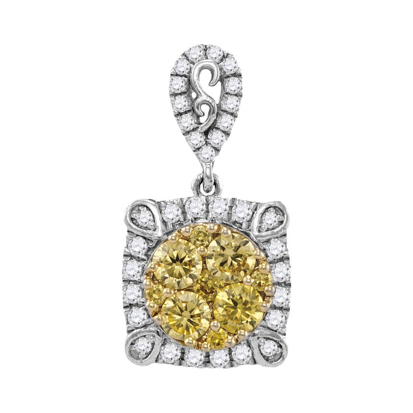 14kt White Gold Womens Round Yellow Colored Diamond Square Frame Cluster Pendant 3/4 Cttw