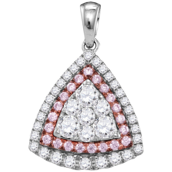 14kt White Gold Womens Round Pink Diamond Triangle Frame Cluster Pendant 1.00 Cttw