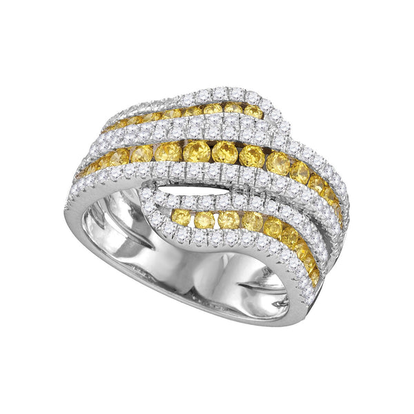 14kt White Gold Womens Round Yellow Diamond Triple Striple Crossover Cocktail Ring 1-3/4 Cttw