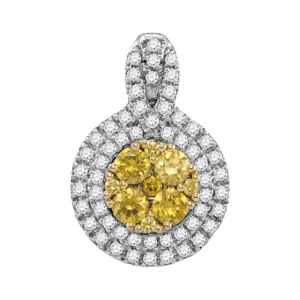 14kt White Gold Womens Round Yellow Diamond Circle Frame Cluster Pendant 1.00 Cttw