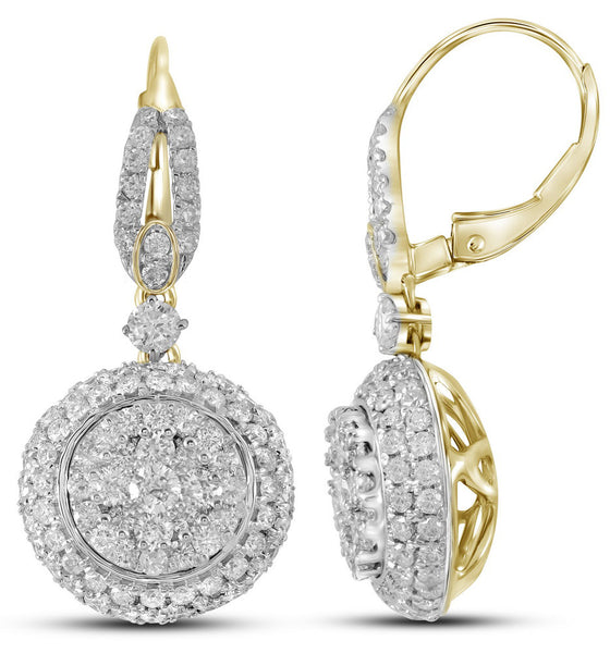 14kt Yellow Gold Womens Round Diamond Flower Cluster Dangle Leverback Earrings 2-1/5 Cttw