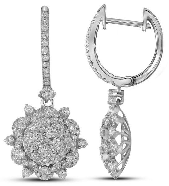 14kt White Gold Womens Round Diamond Starburst Cluster Dangle Hoop Earrings 2-1/4 Cttw
