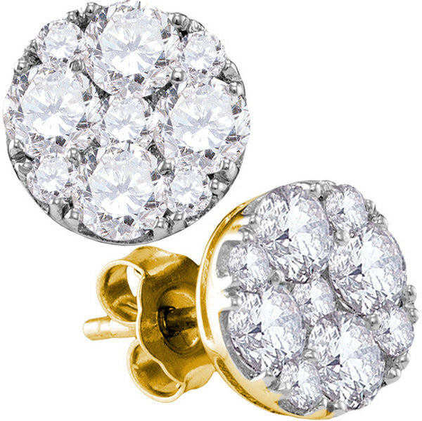 10kt Yellow Gold Womens Round Diamond Cluster Screwback Earrings 1-3/4 Cttw