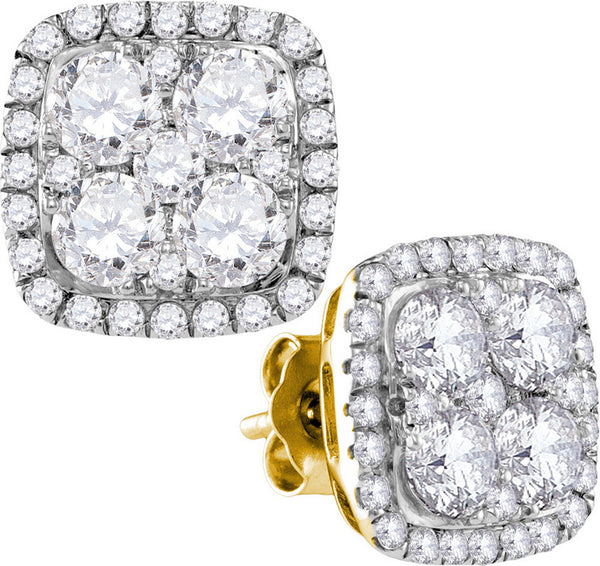 10kt Yellow Gold Womens Round Diamond Square Frame Cluster Earrings 2-5/8 Cttw