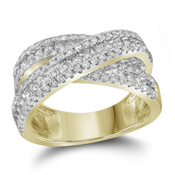 14kt Yellow Gold Womens Round Pave-set Diamond Crossover Cocktail Band 1-7/8 Cttw