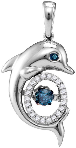 10kt White Gold Womens Round Blue Colored Diamond Dolphin Moving Twinkle Pendant 1/4 Cttw