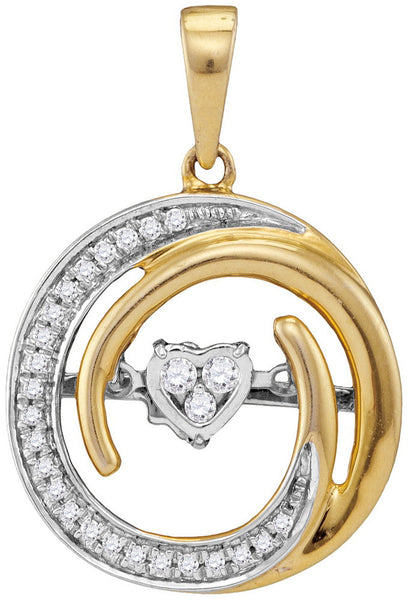 10kt Yellow Gold Womens Round Diamond Circle Moving Twinkle Heart Pendant 1/6 Cttw