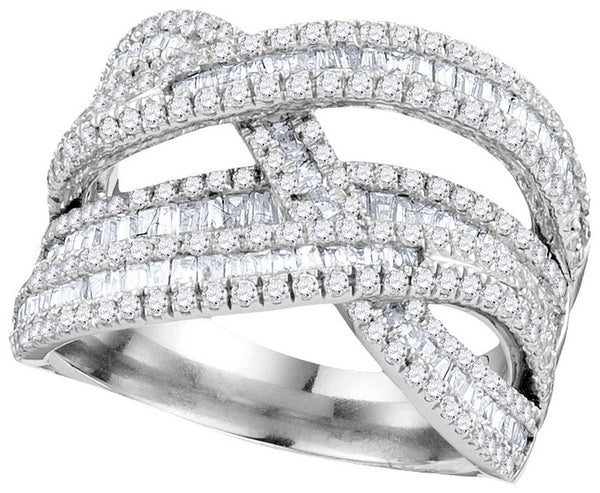 10kt White Gold Womens Round Baguette Diamond Crossover Woven Strand Band 1-7/8 Cttw