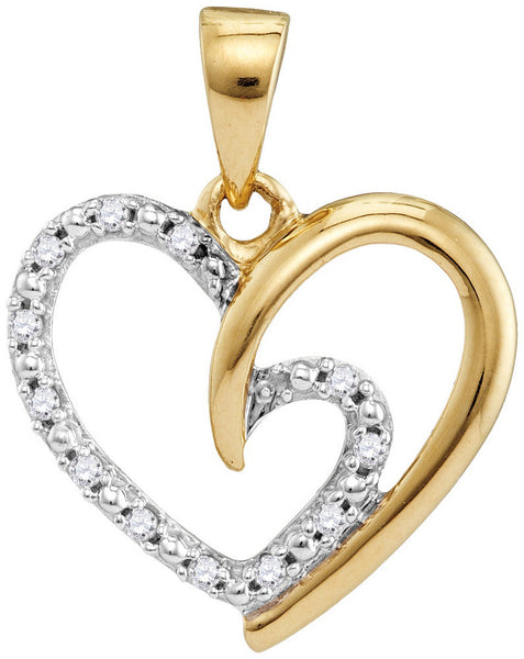 10kt Yellow Gold Womens Round Diamond Small Heart Love Pendant 1/10 Cttw