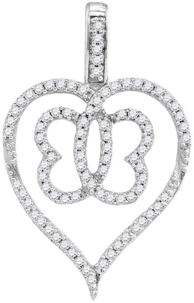 10kt White Gold Womens Round Diamond Heart Butterfly Pendant 1/3 Cttw