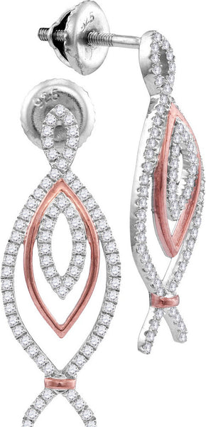 10kt White & Rose Gold Womens Round Diamond Oval Screwback Earrings 3/8 Cttw