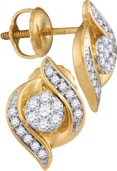 14kt Yellow Gold Womens Round Diamond Flower Cluster Screwback Stud Earrings 1/4 Cttw