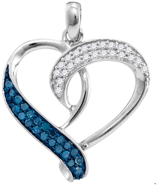 Sterling Silver Womens Round Blue Colored Diamond Heart Love Pendant 1/5 Cttw