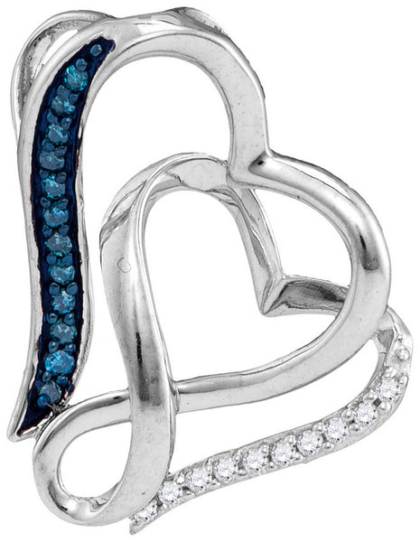Sterling Silver Womens Round Blue Colored Diamond Heart Love Pendant 1/20 Cttw