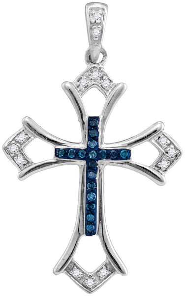 Sterling Silver Womens Round Blue Colored Diamond Cross Pendant 1/10 Cttw