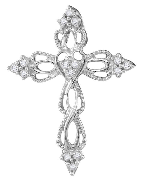 10kt White Gold Womens Round Diamond Heart Cross Faith Pendant 1/6 Cttw