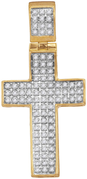 10kt Yellow Gold Mens Round Diamond Christian Cross Charm Pendant 1/4 Cttw