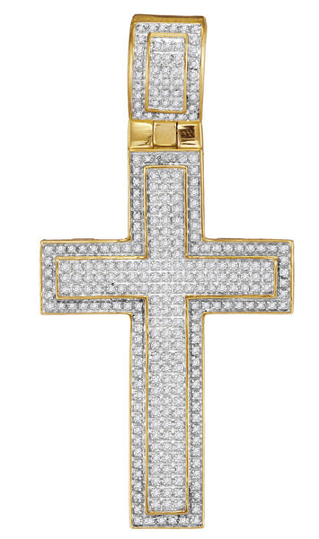 10kt Yellow Gold Mens Round Diamond Roman Cross Faith Charm Pendant 7/8 Cttw
