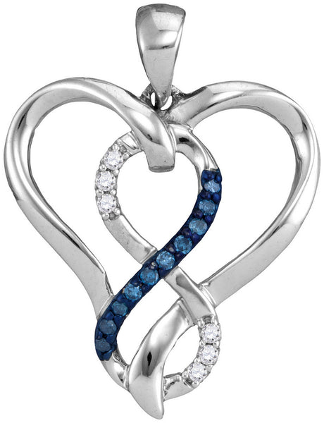 Sterling Silver Womens Round Blue Colored Diamond Heart Infinity Pendant 1/10 Cttw