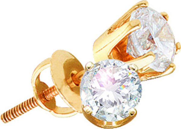 14kt Yellow Gold Womens Round Diamond I2 JK Solitaire Stud Earrings 1.00 Cttw