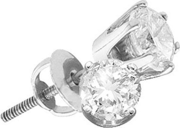 14kt White Gold Womens Round Diamond Solitaire I1 HI Screwback Stud Earrings 7/8 Cttw