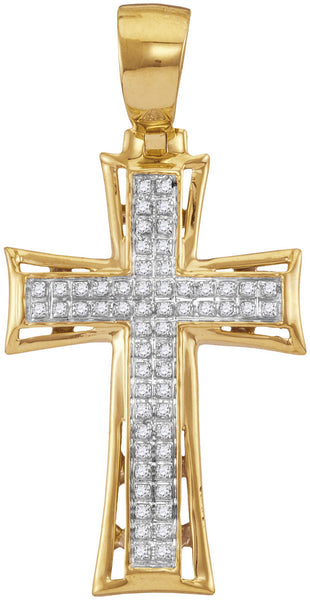 10kt Yellow Gold Mens Round Diamond Flared Cross Charm Pendant 1/6 Cttw